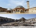 مسجد اموی در ادلب، در سالهای ۲۰۱۲ و ۲۰۱۳ Umayyad mosque, Aleppo, pictured in 2012 (above) and 2013 (below). Photograph: Alamy, Corbis